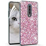 OKZone OnePlus 7 Pro Case [with HD Screen Protector], Bling Glitter Sparkle Design Slim Fit Soft Gel TPU Silicone Skin Cover Anti-Scratch Protective Case for OnePlus 7 Pro (Pink)