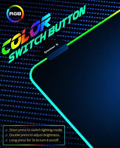 UtechSmart - Alfombrilla de ratón para videojuegos con 14 modos de iluminación, 2 niveles de brillo, alfombrilla para… 4