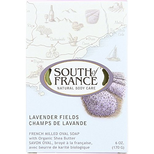 South Of France Bar Soap - Lavender Fields - French Milled Oval Soap - 6 oz (Pack of 4)
