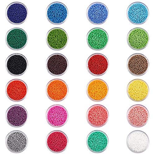 PandaHall Elite Über 384g 12/0 2mm Glas Rocailles mit 0,3mm Loch, 24 Mischfarben Round Pony Bead Mini Spacer für Armband Halskette Schmuckherstellung