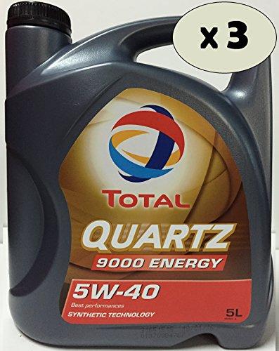 Total Quartz 9000 energy 5W40 Huile Moteur, 15 LITRE (3x5 lts) DUO
