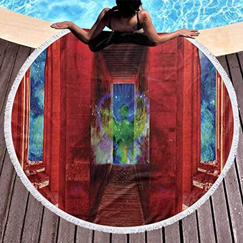 Toalla de playa para exteriores, de secado rápido, Egipto, microfibra, manta circular, Phoenix, criatura mítica griega, pájaro renacido en edificio con escaleras, imagen digital para viajes, gimnasio,
