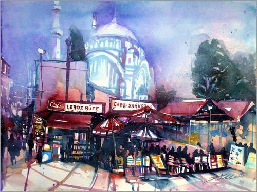 Posterlounge Acrylglasbild 70 x 50 cm: Istanbul, Großer Basar mit Nuruosmaniye Moschee von Johann Pickl - Wandbild, Acryl Glasbild, Druck auf Acryl Glas Bild