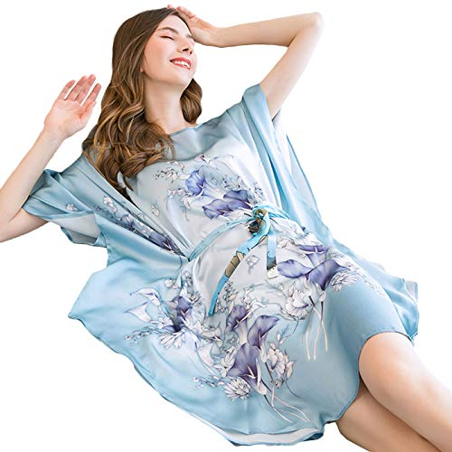 JYCDD Pijama Seda Mujer Kimono Bata Corto Sexy y Elegante Pijamas Albornozes,Suave, Cómodo, Sedoso y Agradable,02 (Belt Style)