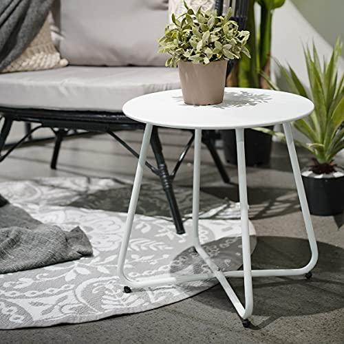 Petite Table Basse Ronde Acier de Haute Qualité Table d'appoint Léger pour Jardin Balcon Salon Piscine Salle à Manger Chambre à Coucher(Blanc)