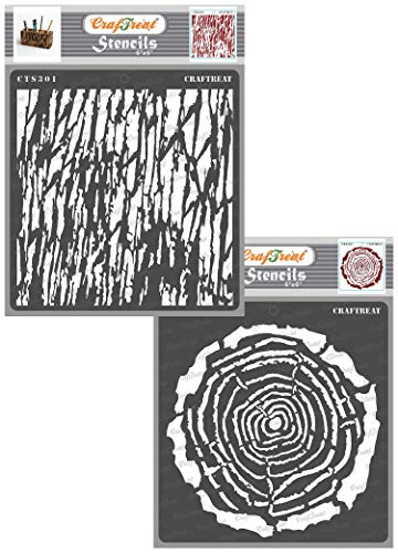 CrafTreat Wood Decor Stencils for Painting on Canvas, Paper, Fabric, Floor, Wall and Tile - Tree Rings and Tree Bark - 2 Pcs - 6x6 Inches Each - Reusable DIY Art and Craft Stencils