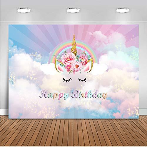 Mehofoto cumpleaños Unicornio Flor telón de Fondo 7x5ft Vinilo Arco Iris Unicornio niños decoración del Partido telones de Fondo de la Foto Bandera inconsútil fotografía Fondo
