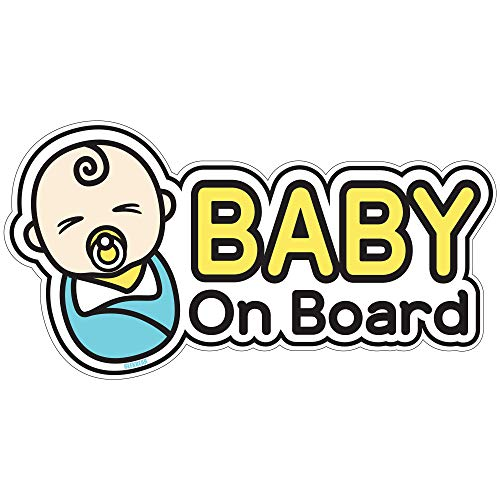 BSL Baby on Board Sticker and Decal for New Born Baby - Baby Bumper Car Sticker - Baby Window Car Sticker - Baby in Car Sticker - Cute Safety Caution Decal Sign for Cars