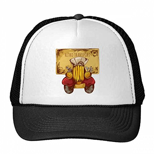 DIYthinker Gorra de béisbol de Transporte de Coches de época Retro de la Historieta Bretaña, Reino Unido Gorro de Malla de Nylon del Casquillo del Sombrero Ajustable para Adultos