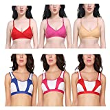 Material: 80% Cotton   10% Hosiery   10% Lycra Assorted Colors Full Coverage Bras (Pack of 6) Bra Type : Non Padded, Wirefree Bra which provide full coverage and great comfort This bra is as light as air and it targets all the trouble areas women wan...