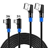 SUNGUY 3FT/1M Lot de 2 câbles Micro-USB à Angle Droit 90 ° en tressé pour Charge et...