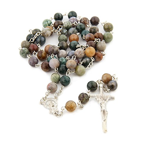 Ytbeauti Religious Catholic India Agate Prayer Beads Bless Rosary Necklace Silver Cross 8MM Double Length 16.5inch