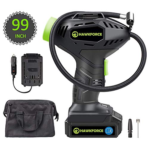 HAWKFORCE Tire Inflator Air Compressor, Cordless Portable Car Tire Air Pump with Easy to Read Digital Pressure Gauge, Built-in LED Light, Long Length 99 Inches Car Charger, Tool Bag