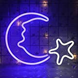 Moon Star Neon Sign (19.5 x 5 inch), Acrylic Board Blue & Warm White Moon Star Led Neon Light, Art LED Wall Sign Children Lights for Kids' Bedroom,Baby Nursery Room, Party, Christmas