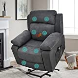 SAMERY Power Lift Recliner Chair with Massage and Heating for Elderly/Seniors, Electric Recliner Chair Sofa for Living Room with Side Pocket, USB Charge Port&Massage Remote Control