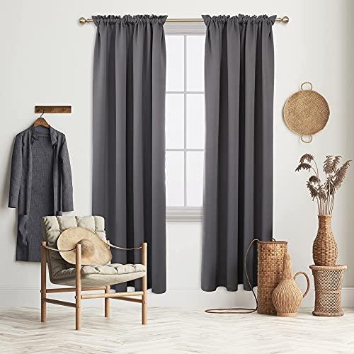 "Deconovo Dark Grey Blackout Curtains, Rod Pocket Curtain 2 Panels, 52"" W x 95"" L, Light Blocking Curtains for Baby Room Kids Room Patio Door"