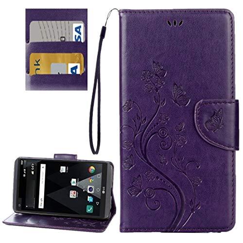 Wdckxy HNZZ - Funda de piel para LG V20, diseño de mariposas y flores en relieve horizontal con soporte, ranuras para tarjetas, cartera y cordón (color 2)
