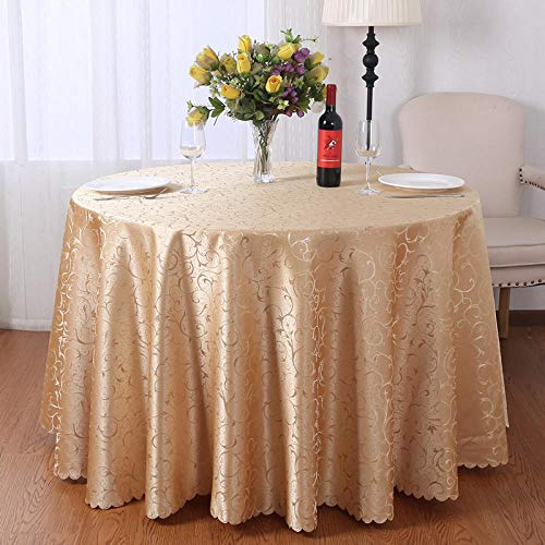 Kuingbhn Mantel Antimanchas Rectangular Light Luxury Home Manteles para Mesas de Tela Lavable Golden Circle Diameter 240cm