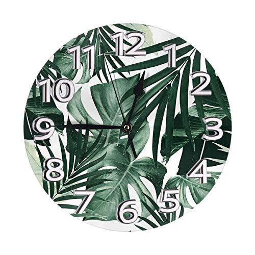 Funda de cojín Kasonj con diseño de hojas tropicales de selva, moderno, silencioso, sin marco, gran reloj de pared ideal para cualquier habitación en el hogar, comedor, cocina, oficina, escuela