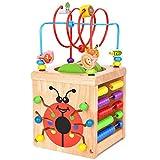 Wesimplelife Juego de Juguetes de Laberinto de Madera Cubo de Actividades Centro de Actividades 6 en 1 Juguete de Madera Laberinto Educativo Regalo para Bebés Niños