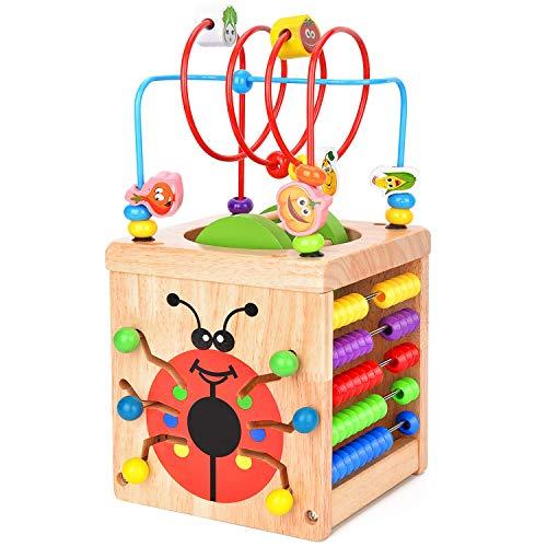 Wesimplelife Motorikwürfel 6 in 1 Spiele-Center Aktivität Würfel Holzspielzeug Perle Labyrinth Roller Coaster Baby Pädagogisches Spielzeug für Kinder