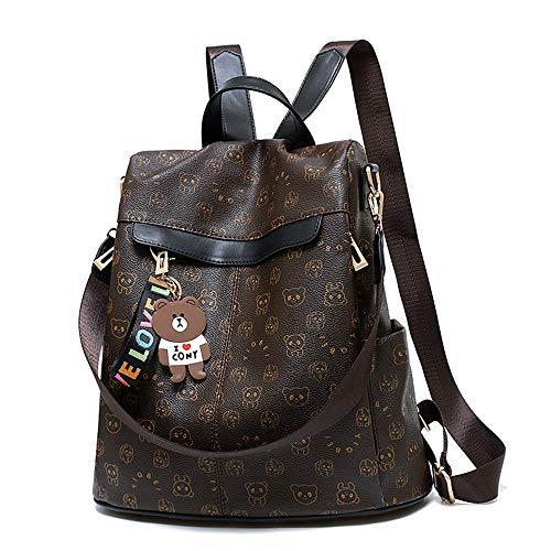 Women Backpack Anti-theft Waterproof Casual Rucksack Purse PU Leather Lightweight School Shoulder Bag(Bear Black)