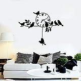 HGFDHG Reloj Etiqueta de la Pared Decoración de la Pared de Vinilo Oficina Ventana Ramas Ramas Pájaros Hoja Sala de Estar Interior del hogar
