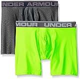 "Under Armour Men's Original Series 6"" Boxerjock, Carbon Heather/Hyper Green, XX-Large, Pack of 2"