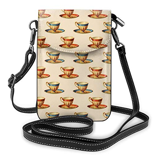 Weiche PU-Leder-Umhängetasche, Handy-Geldbörse, Geldbörse mit Schultergurt, Damen-Umhängetasche, Handtasche (Teetasse Bild)