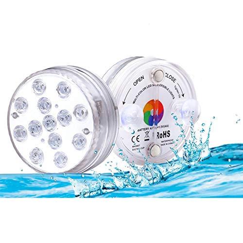 Lacmisc Unterwasser Licht, Wasserdichtes LED Licht Mehrfarbrige RGB Unterwasserlicht mit RF-Fernbedienung Poollampe für Swimmbad Teich Vasenbasis Aquarium Inneneinrichtung Poolbeleuchtung 2 Stücke