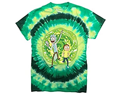 Ripple Junction Rick and Morty Large Portal Adult T-Shirt Medium Green Tye Dye