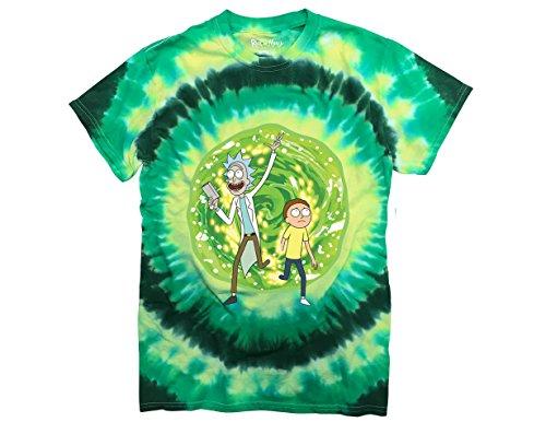 Ripple Junction Rick and Morty Large Portal Adult T-Shirt 2XL Green Tye Dye