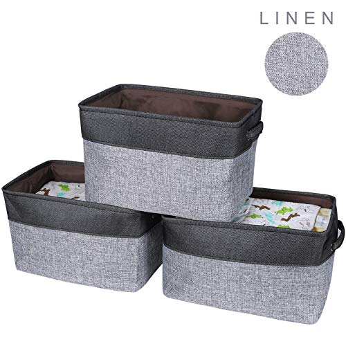 HOKEMP Foldable Storage Bins [3-Pack] - 15 x 10.6 x 9.4 inch Fabric Storage Large Basket Set Collapsible Organizer Bin with Handles for Closet, Toys, Towels, Laundry - Black