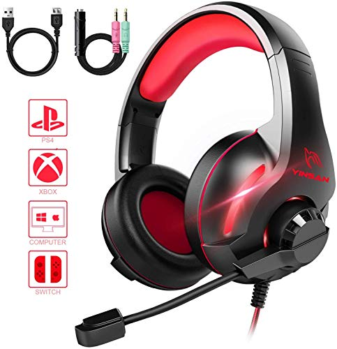 YINSAN Xbox One Headset, Gaming Headset PS4 Headset Surround Stereo Gaming Kopfhörer mit Mikrofon und LED Licht, kompatibel mit PC / PS4 / Xbox One/Switch (USB Verlängerungskabel enthalten), Rot