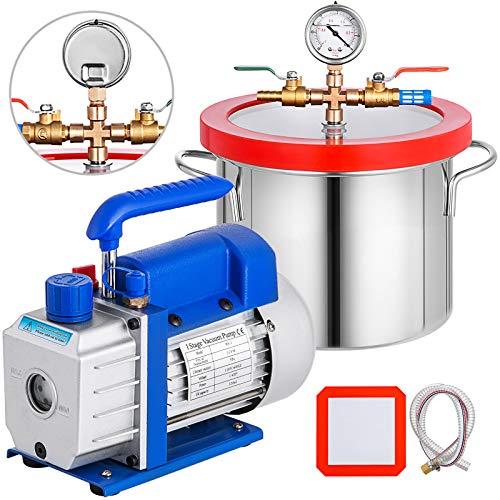VEVOR Vakuumpumpe 3CFM1/4HP, Vakuumkammer mit Pumpe 5,7-Liter-Vakuumkammer-Kit, Klima Vakuumpumpe Set einstufige Vakuumpumpe, Vacuum Pump Ölkapazität von 220 ml