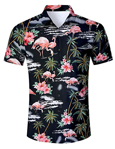 AIDEAONE Herren Hawaii Flamingo Blumen Hemd Kurzarm Hemden Strandkleidung Schwarz