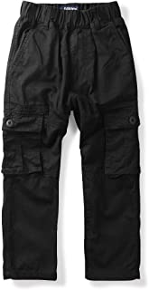 Mesinsefra Boy Cargo Pants Casual Trousers Solid Color Slacks