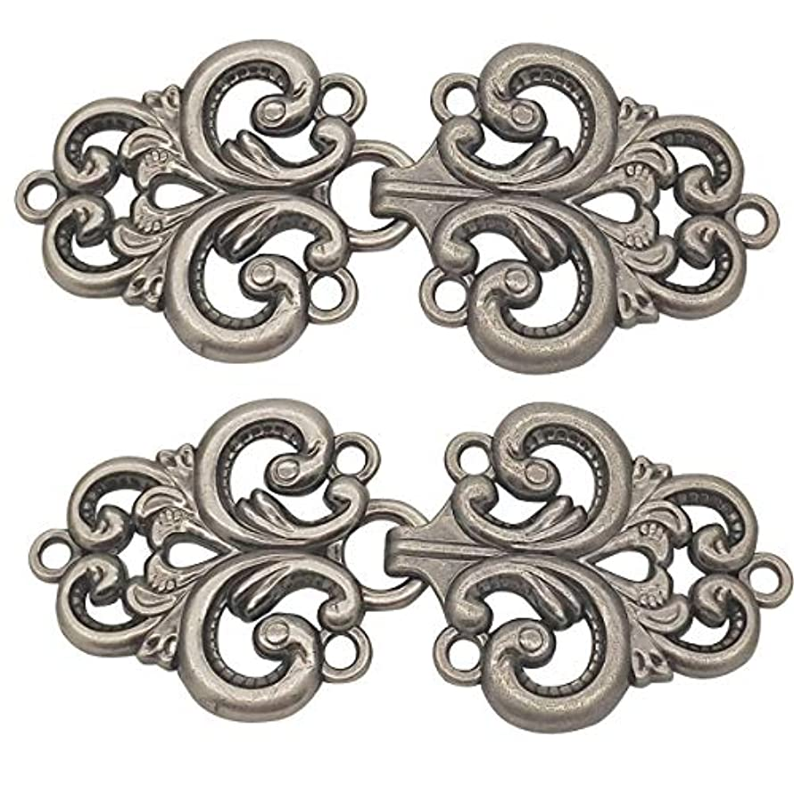 Monkey Rise 10 Pairs Retro Baroque Swirl Follower Pattern Cloak Clasp, Sew On Hooks and Eyes Cardigan Clip 68x38mm(Gray)