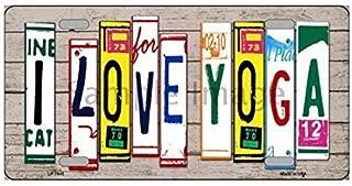 I Love Yoga License Plate Art Wood Pattern Novelty License Plate Tag Sign