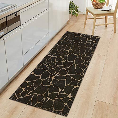 OPLJ Nordic Kitchen Mat Schlafzimmer Eingang Fußmatte Flur Bodendekoration Wohnzimmer Teppich Holzmaserung Badezimmer Anti-Rutsch-Teppich A3 40x120cm