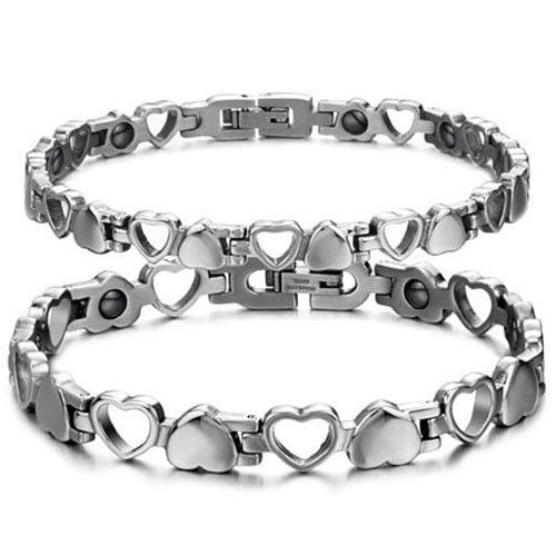 JewelryWe Schmuck Edelstahl Herz Magnetarmband, Germanium Magnet Armband Partnerarmband Armreif, Valentine, Farbe Silber EIN Paar