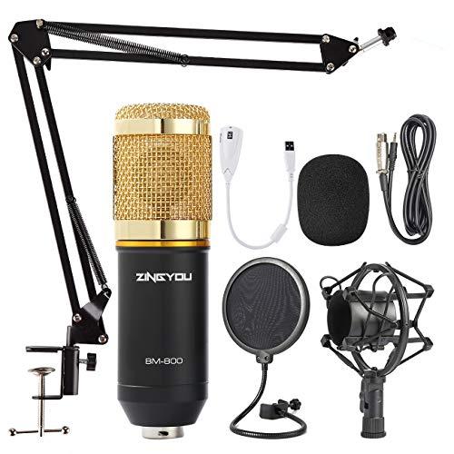 ZINGYOU Microfono de Condensador Kit, BM-800 Micro Set Estudio Profesional, Micrófono Escritorio con Pie&Brazo para PC,Grabar,Gaming,Podcast(Oro)