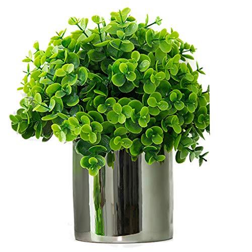 LXLTL Kunstblumen Pflanzen, Für Drinnen Und Draußen Zuhause Büro Garten Dekorationen Kunstplastik Mit Vase Gefälschte Grüne Sträucher,Versilberte Topfpflanzen,D