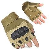 FreeMaster guantes de trabajo deportivos para exteriores sin dedos o a mitad de dedo para hombres, para acampar y bicicleta de montaña, color marrón, tamaño X-Large