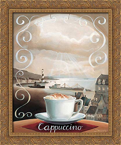 Jasper 20x24 Gold Ornate Framed Canvas Art Print Titled: Cappuccino