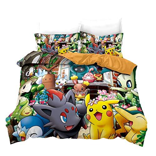 SK-YBB Funda de edredón Pokemon Pikachu, 3D de microfibra impresa Pokémon Cartoon funda de edredón, funda de almohada, ropa de cama (A6, SuperKing 260 × 220 cm)
