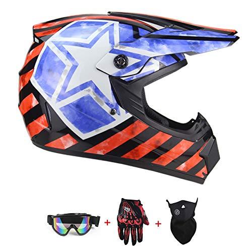 ZYWW Dot Youth Kids Motocross Offroad Street Dirt Bike Casco Gafas Gloves ATV MX Casco,Black Flag,L