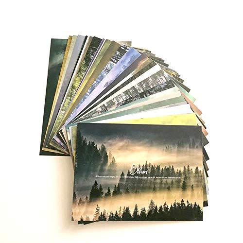 Miner 30-delige set Foggy Forest met klassieke Engelse zinnen selectie cadeaukaarten landschap ansichtkaarten