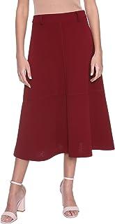 Andiamo Fashion Solid Midi A-Line Skirt for Women XXL
