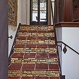 Bestine 6PCS 3D Treppenaufkleber, Umweltfreundliche Selbstklebende PVC-Treppenaufkleber Abnehmbare wasserdichte Treppenaufkleber für Hauptschlafzimmer Wohnzimmer Dekor (A) - 2